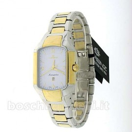 QUARTZ MOVEMENT CRYSTAL SAPPHIRE GLASS BRACELET AND BICOLOR STAINLESS STEEL CASE 30x40mm WATER RESISTANT 5 ATM.