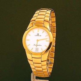 QUARTZ MOVEMENT, STAINLESS STEEL IN GOLD COLOR CASE 34mm IN DIAMETER