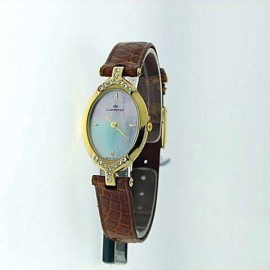 QUARTZ MOVEMENT, CASE IN LAMINATED STAINESS STEEL WITH CRYSTALS, BRACELET IN SKIN, WATER RESISTANT, CASE 23x33mm