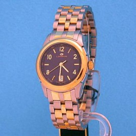 QUARTZ MOVEMENT, STAINLESS STEEL AND GOLD 18k, WATER RESISTANT 5 ATM CASE 29mm IN DIAMETER