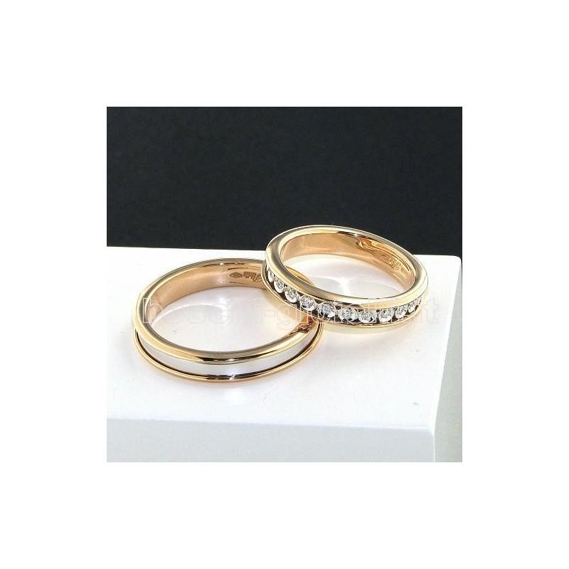 Popolare polello 2596br fedi oro bianco rosa diamanti BR18