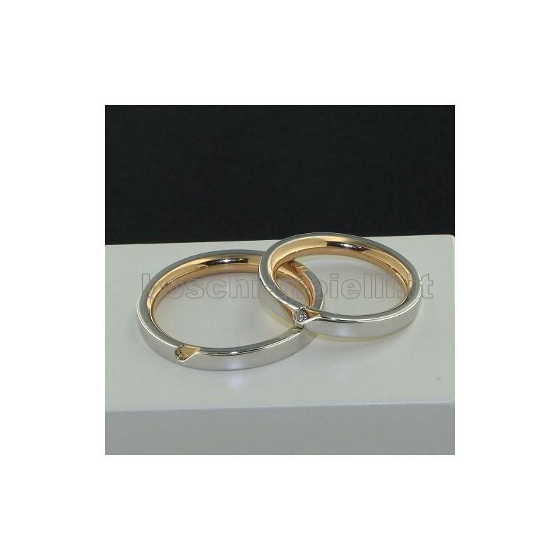 home Fedi nuziali Polello 2600BR Fedi oro bianco rosa diamanti