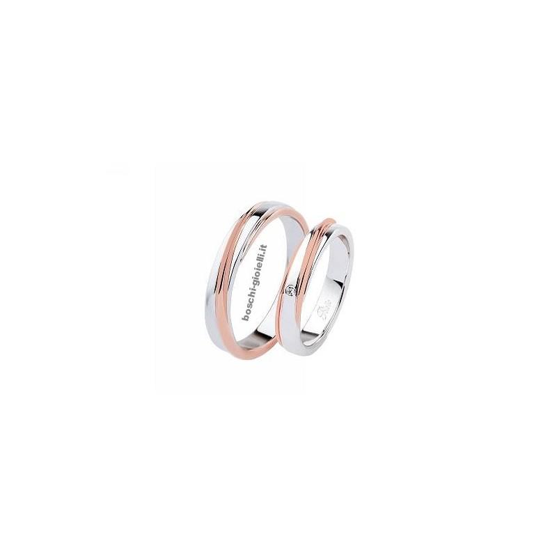 home Fedi nuziali Polello 2841BR Fedi oro rosa bianco diamanti