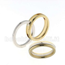 WEDDING RING IN WHITE AND YELLOW GOLD 18k HEIGHT 4mm.<BR>Weights and carat are indicative and they are subject to change depending on the ring size. Contact us for a personalized quote.