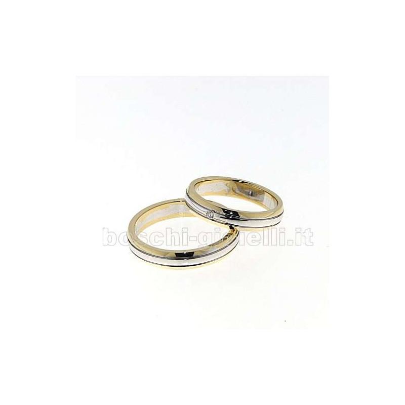 home Fedi nuziali Fedina BOSRPM413BR Oro giallo Bianco diamante