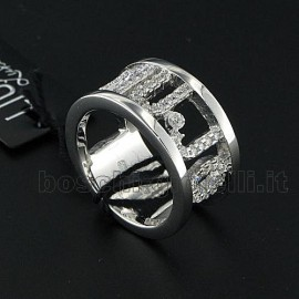 ANELLO IN ARGENTO 925 CON ZIRCONI, LARGEZZA 11mm