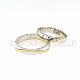WEDDING RINGS IN GOLD 18k WITH DIAMONDS, HEIGHT 4mm.<BR>Weights and carat are indicative and they are subject to change depending on the ring size. Contact us for a personalized quote.