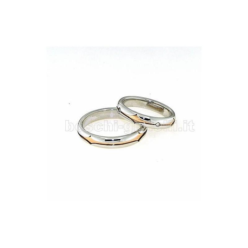 home Fedi nuziali Polello POL2499 Fedi oro bianco rosa diamanti
