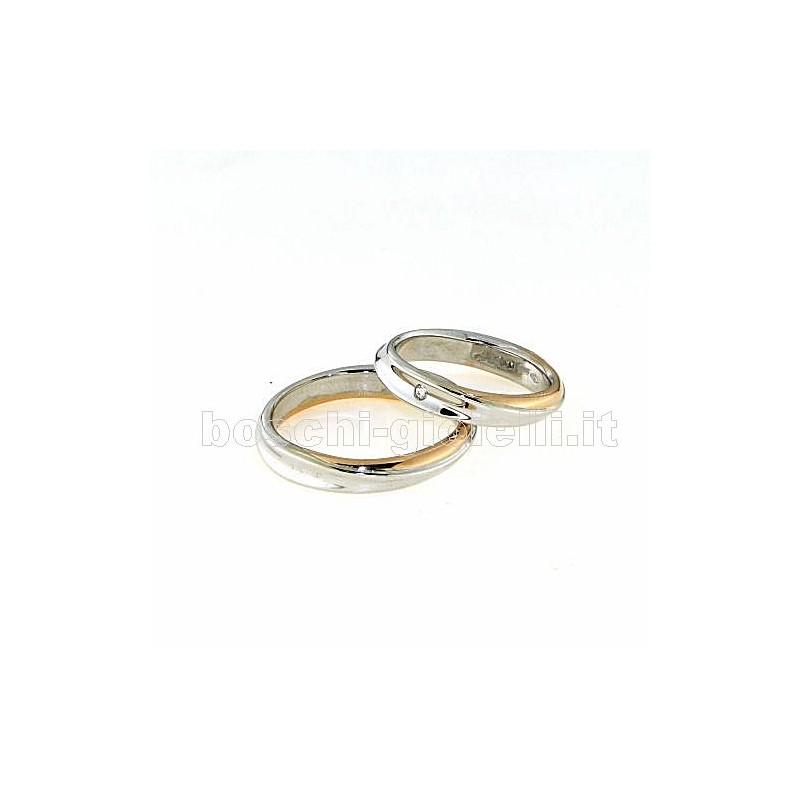 home Fedi nuziali Polello POL2500 Fedi oro bianco rosa diamanti