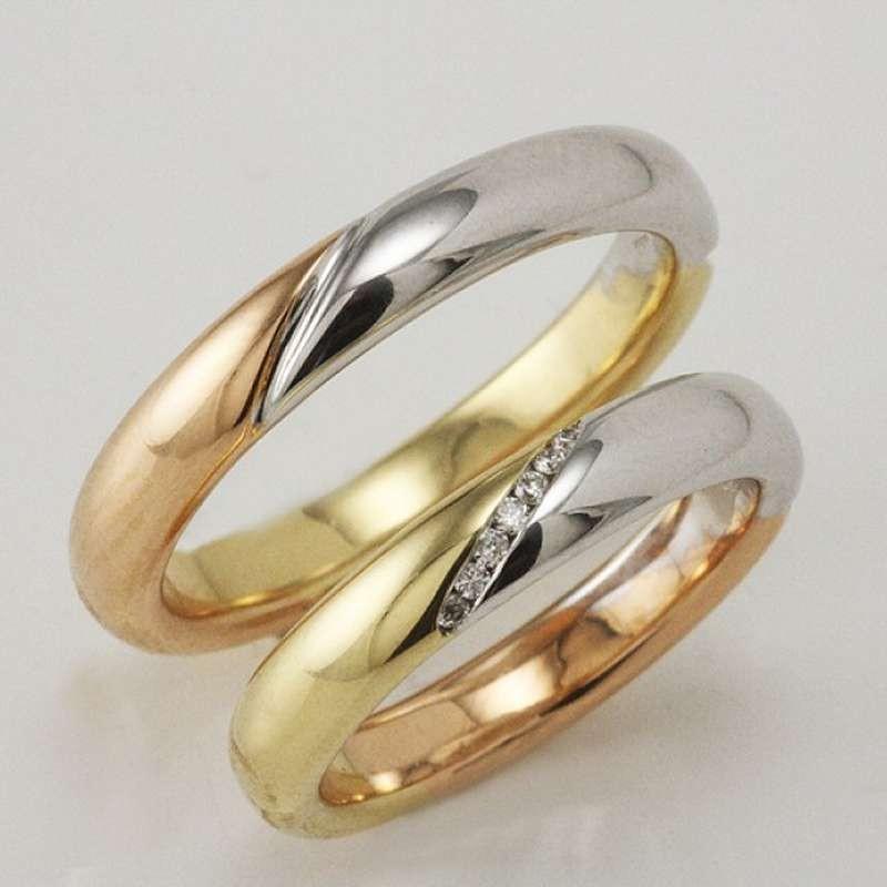 Famoso polello g2334 fedi nuziali oro 3 colori diamanti VH57