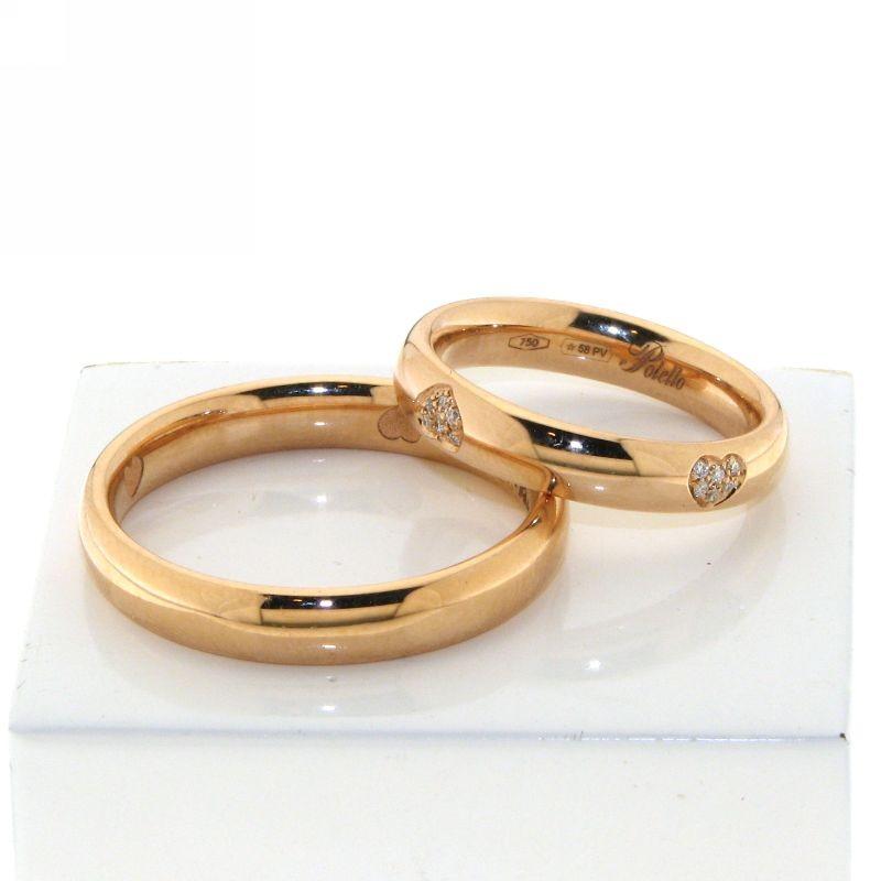 Eccezionale polello 2889r fedi oro rosa diamanti cuore UC62