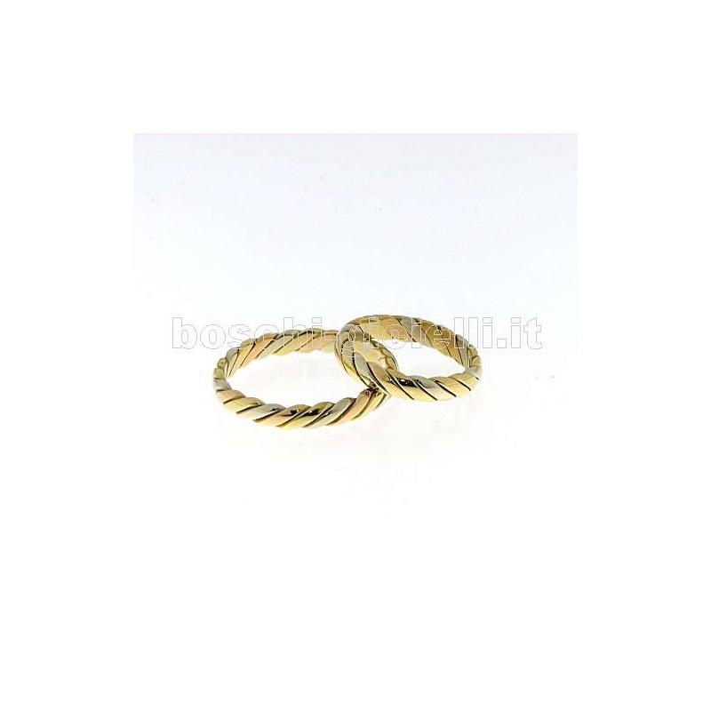 home Fedi nuziali Fedina fidanzamento 3COL35 Fede oro bianco giallo rosa