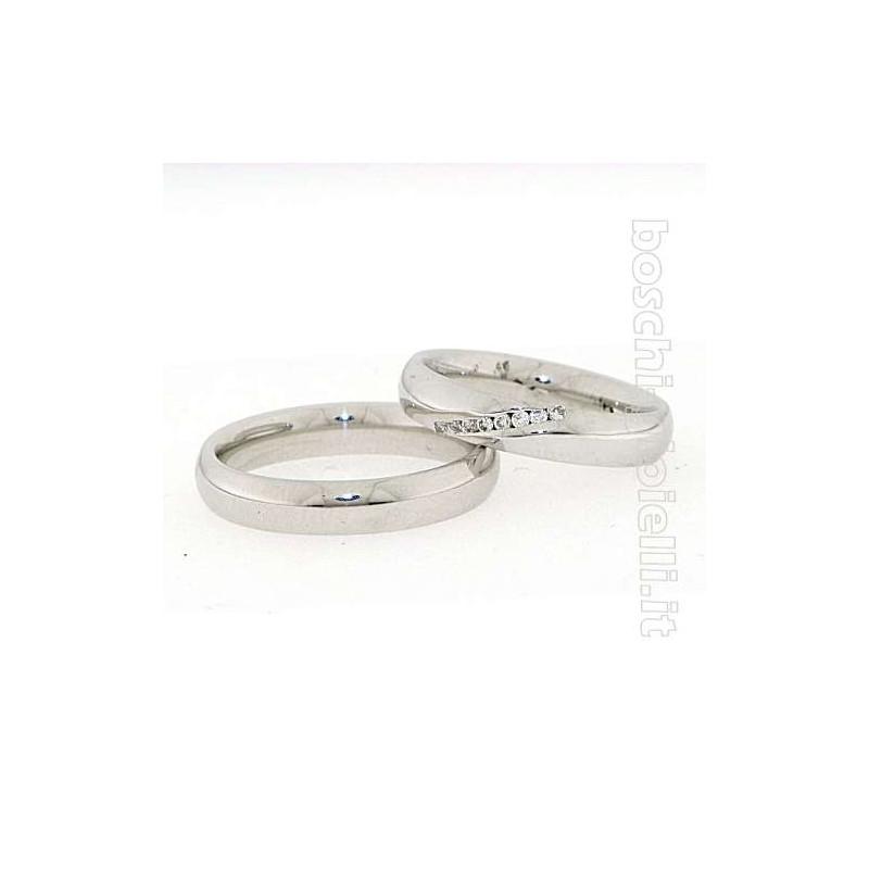 home Fedi nuziali Fedina BOSFED01 Comoda oro bianco 4mm diamanti