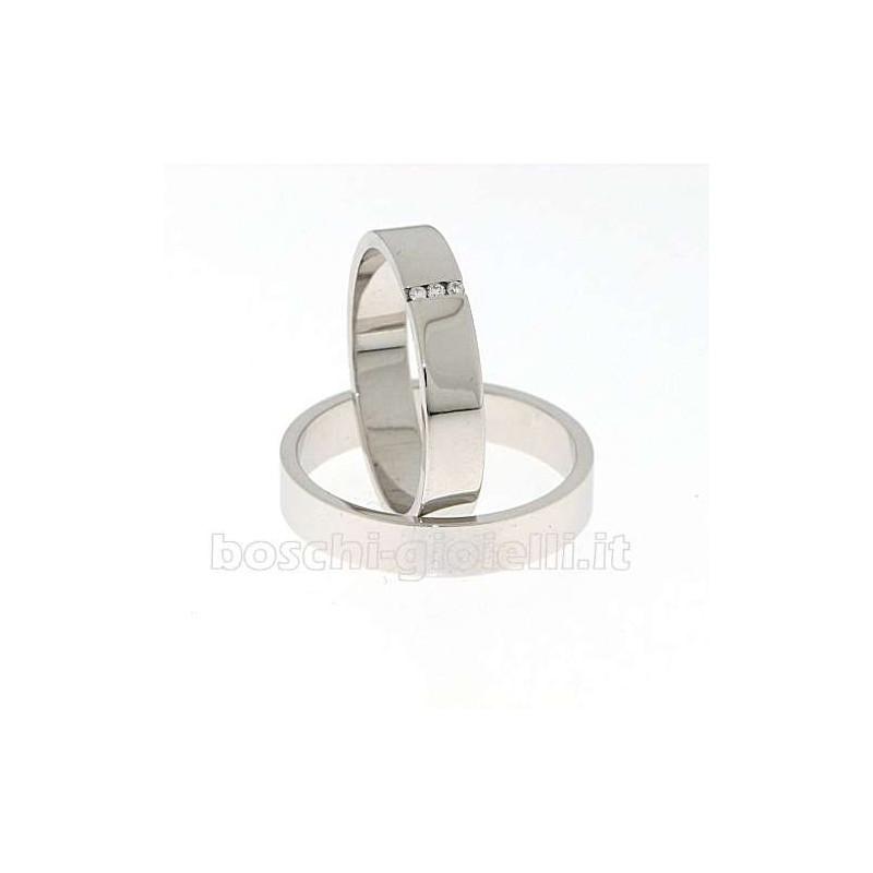 home Fedi nuziali Fedina BOSLL90028 Piatta oro bianco diamanti