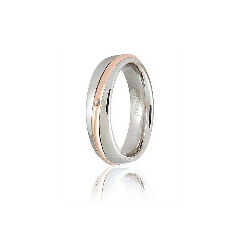 home Fedi nuziali Unoaerre saturno-ob Fede Saturno oro bianco rosa diamante ct 001